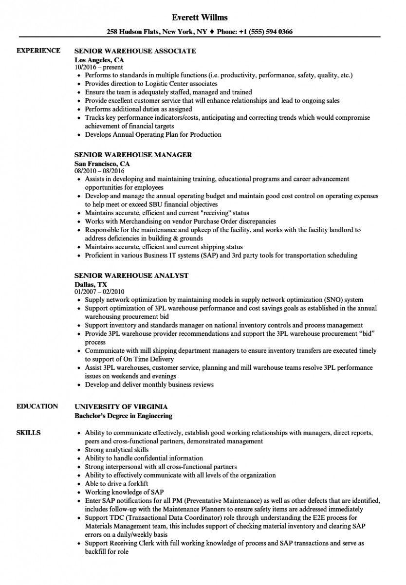 11 warehouse affiliate resume pattern