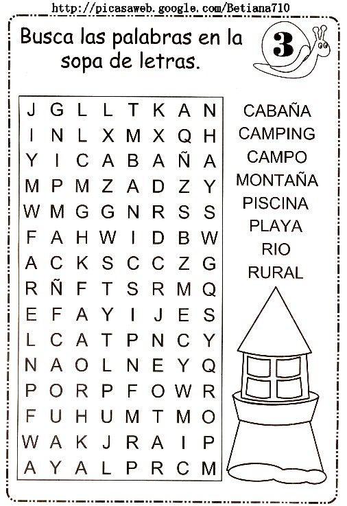 sopa de letras | Español | Pinterest