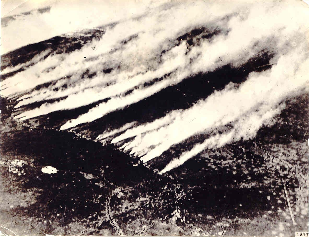 A German chemical attack using Chlorine during the Second Battle of Ypres.  Horrors!