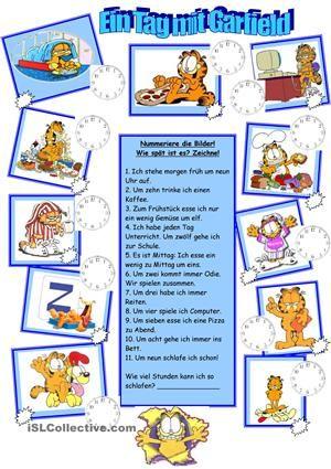 Garfields Tagesablauf | Deutsch1 | Pinterest