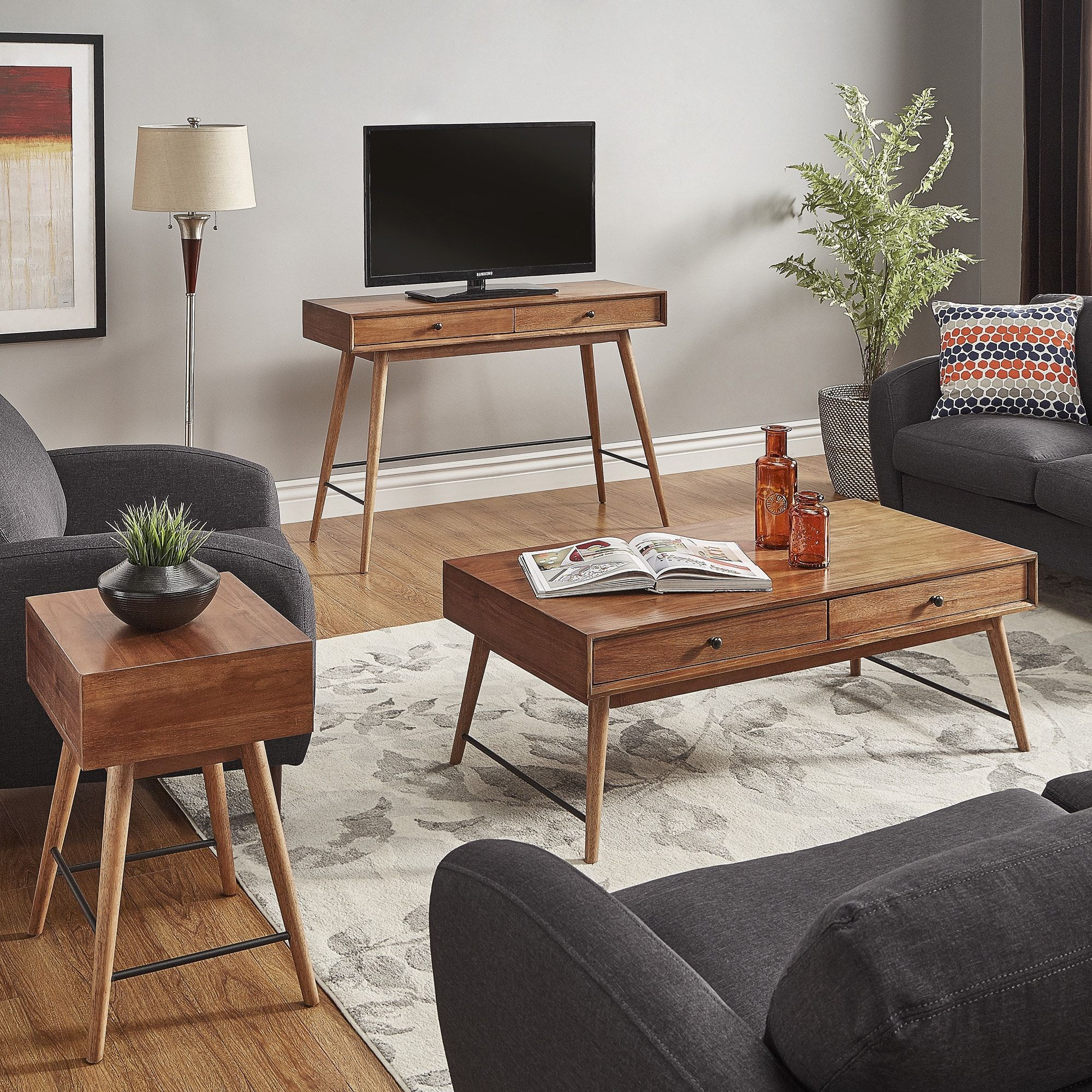 Aksel Brown Wood Accent Tables iNSPIRE Q Modern Coffee Table