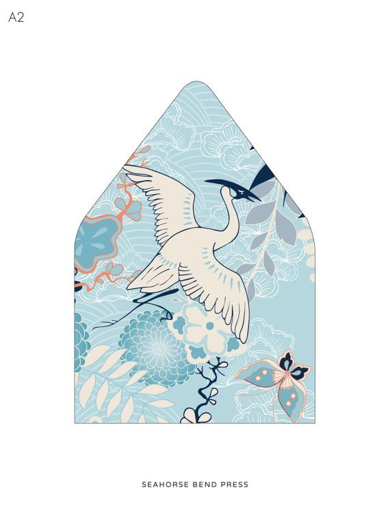 Envelope Liner Template Blue Crane Kimono Pattern Multiple Sizes
