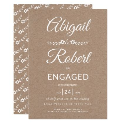 Handwritten typography kraft paper engagement card Handwritten