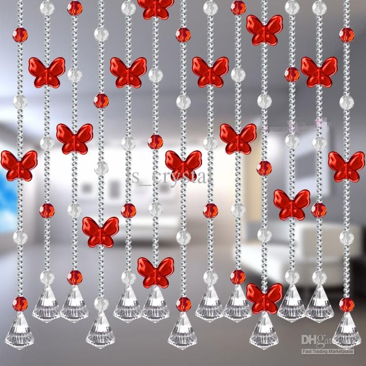 Wholesale Romantic Balcony Folding Glass Curtains with Butterfly Shape Beads for Wedding Faovrs
