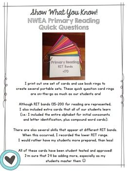 NWEA MAP Reading Test Prep Practice Primary Cards | Teacher pay ...