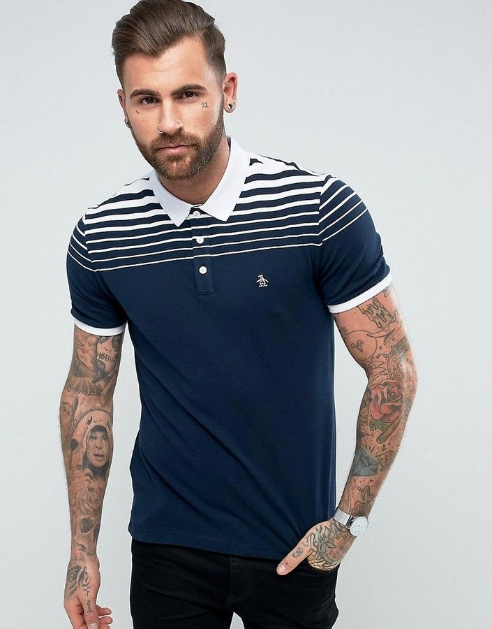 a935dcf10545 Original Penguin Pique Polo Gradient Stripe Slim Fit Small Logo in Navy