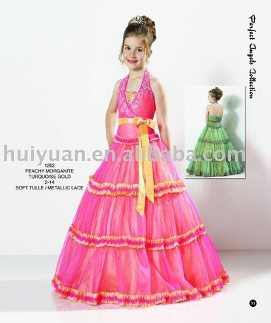 White Flowers High Neck Gown Kids Party Wear Dresses For Girls ...
