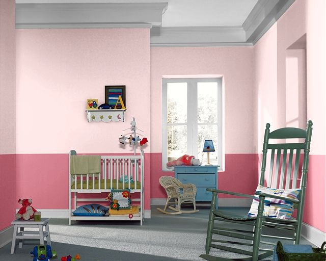 Sherwin Williams Charming Pink on the upper portion and ... - photo#2
