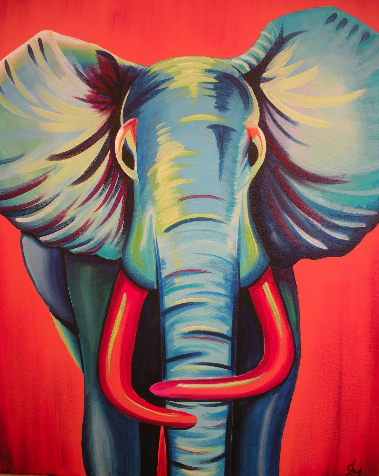Acrylic Canvas Painting Elephant