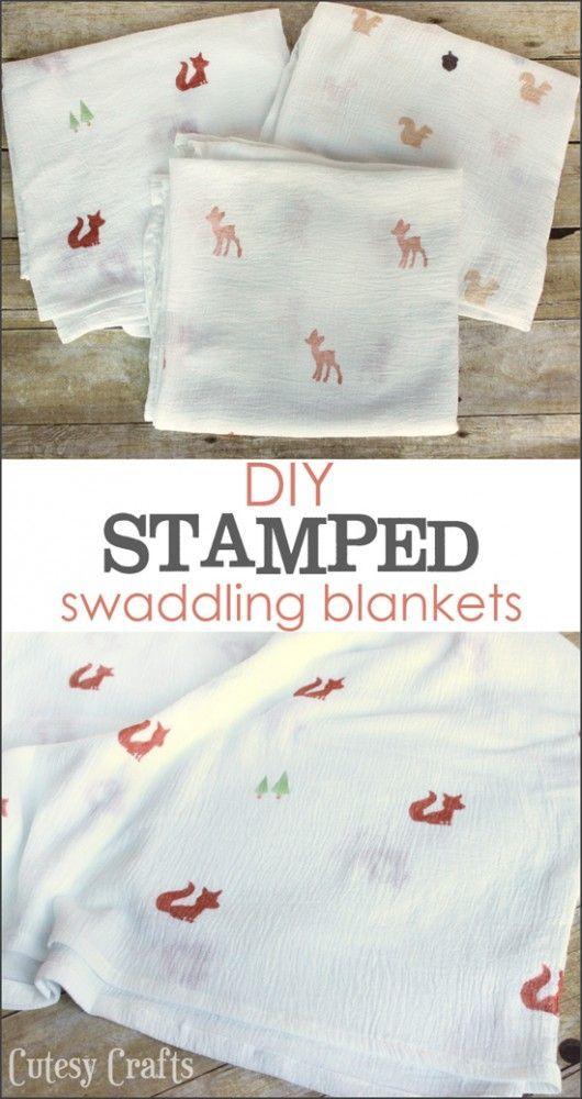Diy Stamped Muslin Swaddling Blankets Cutesy Crafts Diy Baby Blanket Trendy Baby Blankets Diy Baby Stuff
