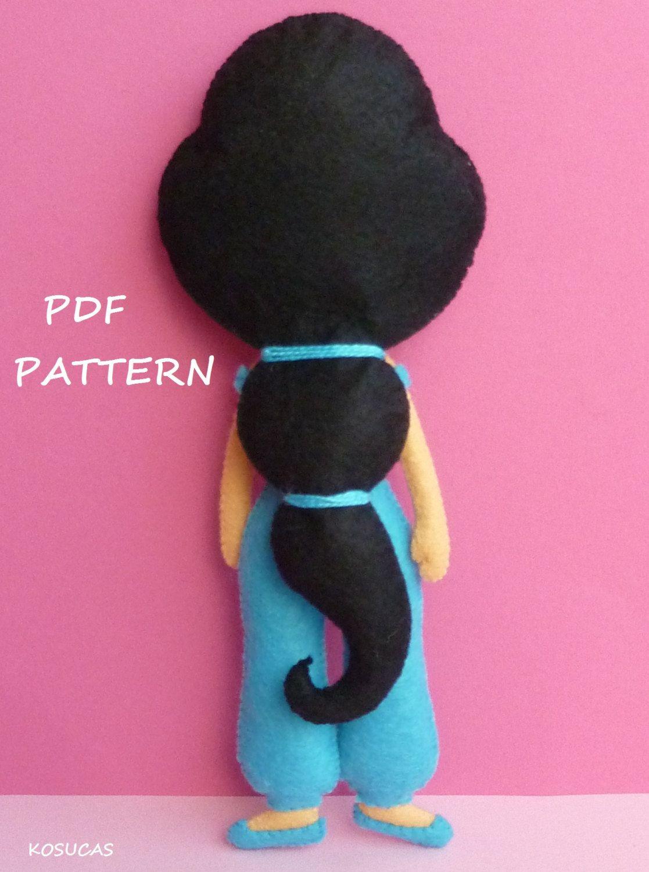 PDF sewing pattern to make felt doll inspired in Jasmine | Pinterest ...