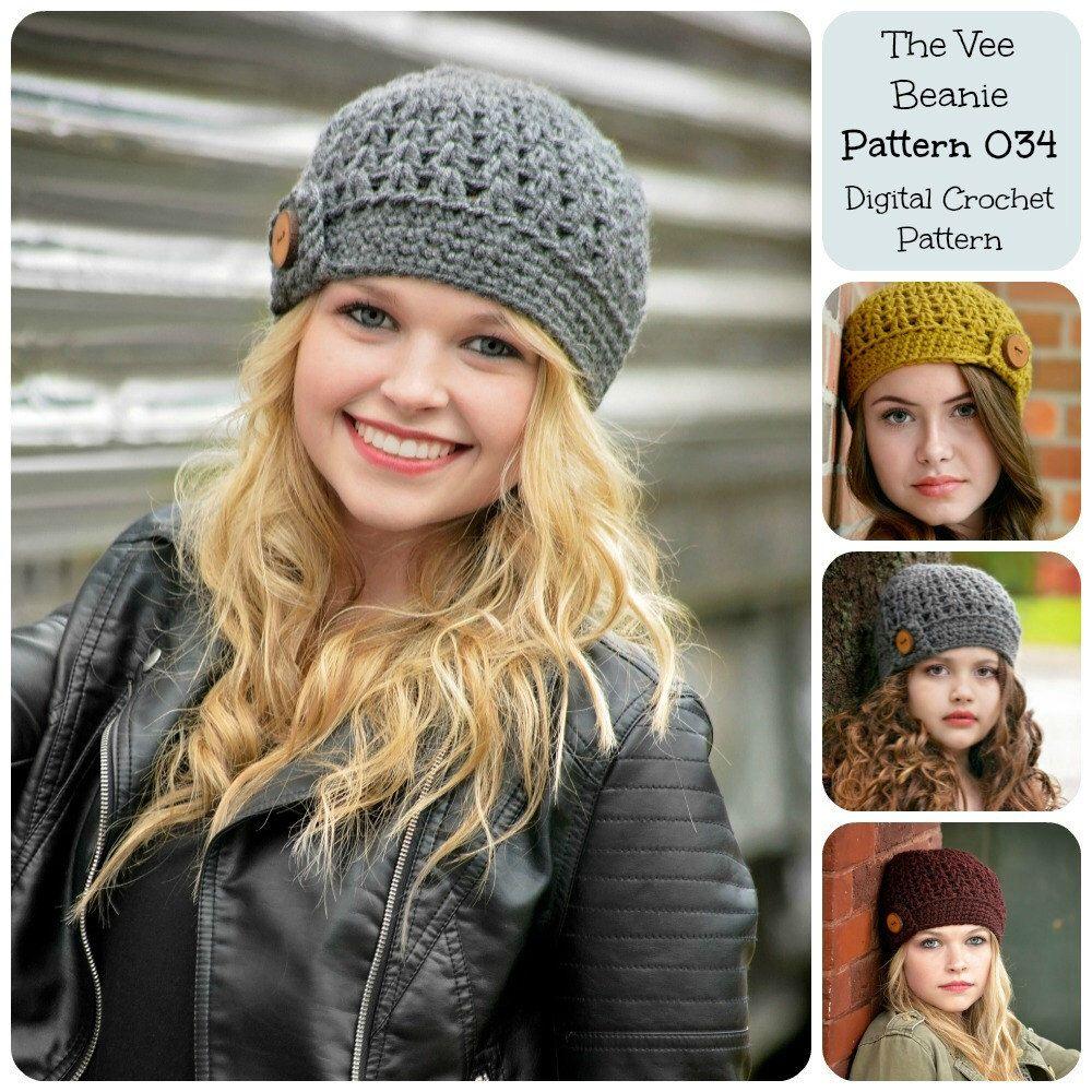 Crochet Pattern / The Vee Beanie Pattern 034 / Crochet Hat Pattern ...