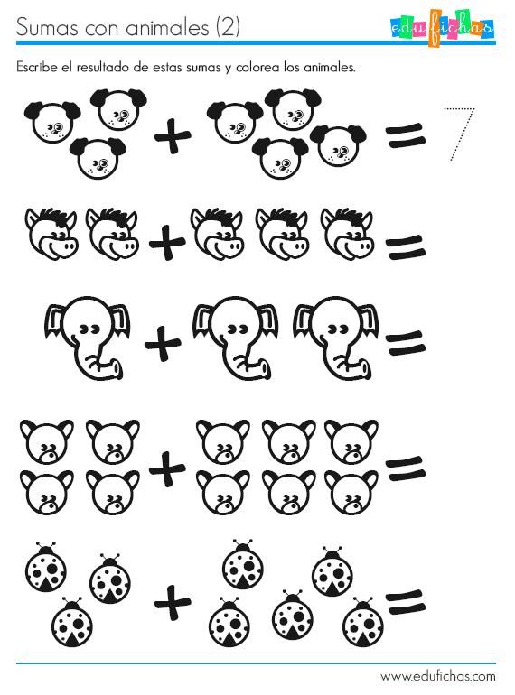 Ficha de sumas para preescolar. Aprender a contar y sumar ...