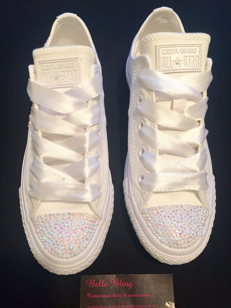 Customised Wedding Bridal Converse Trainers Crystal Personalised 3 4 5 6 7  8 9 | eBay