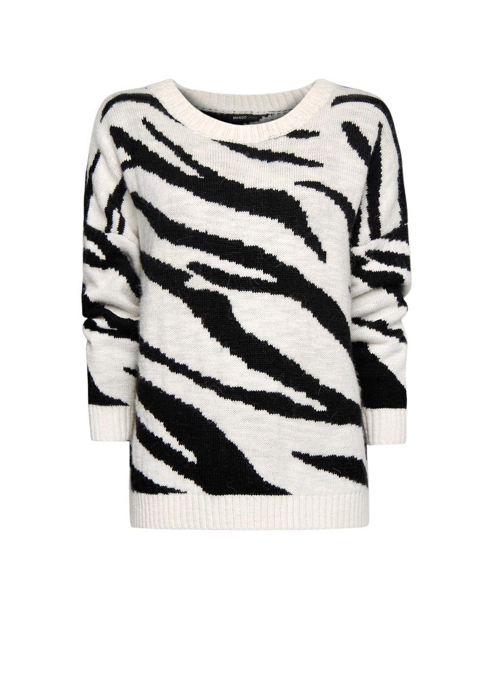 MANGO - Zebra print oversized jumper