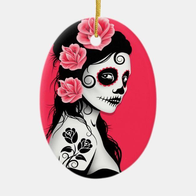 tag des toten zuckerschädelmädchens  rosa rundes keramik