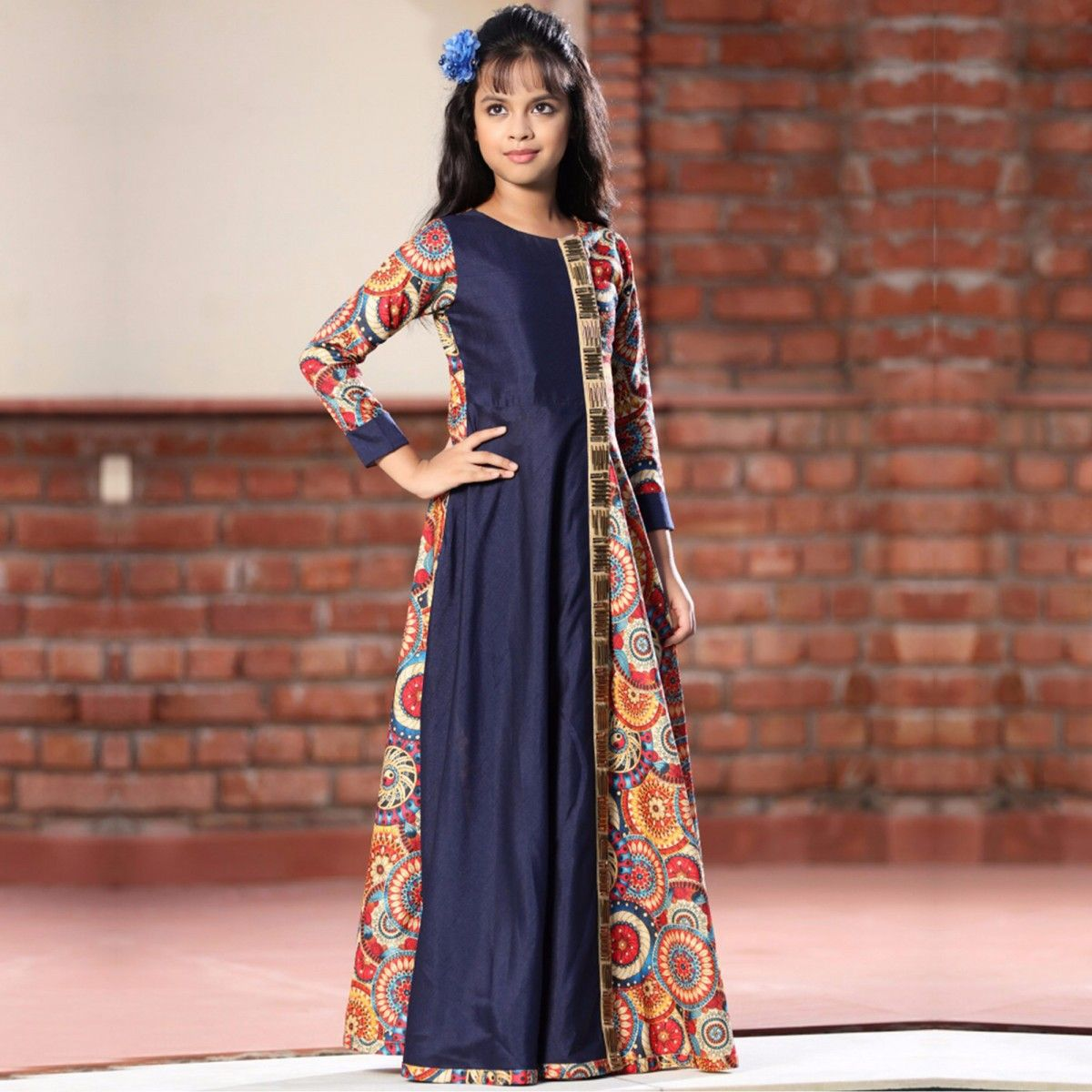 f0b4a72857 Buy Multicolored Digital Printed Silk Gown for womens online India, Best  Prices, Reviews - Peachmode