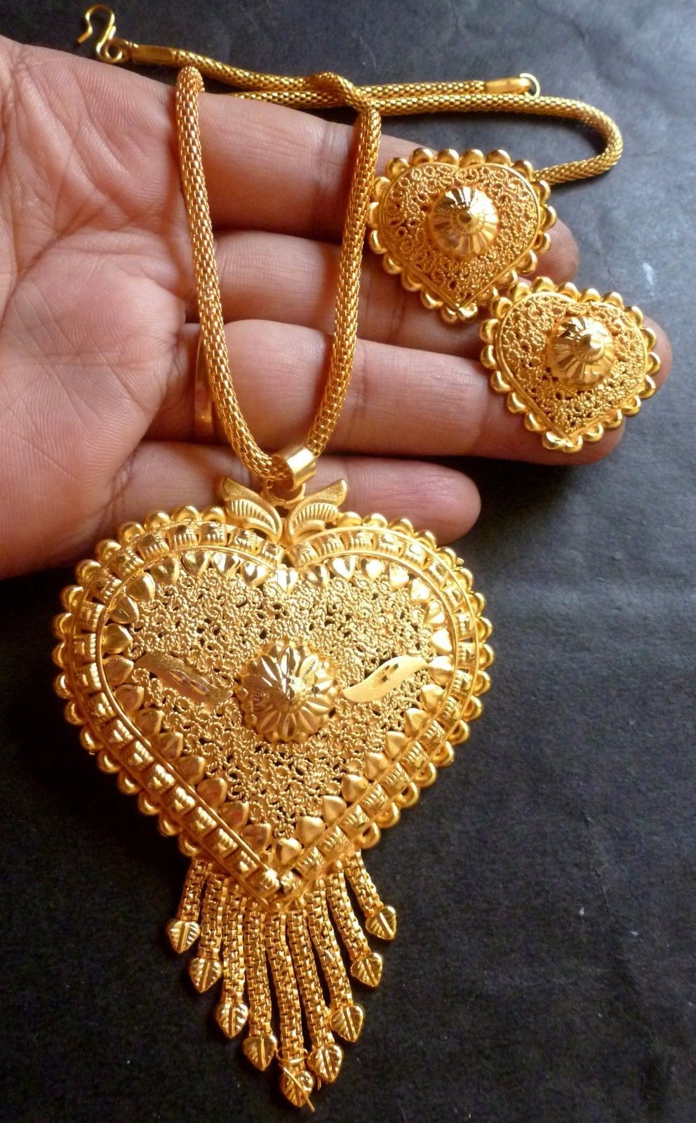 Indian k gold plated bridal necklace chain uupendant earrings
