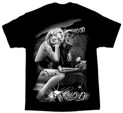 Men's premium black biker t-shirt with beautiful Rid or Die, Hollywood Homegirl graphics. Black and white with Marilyn Monroe, biker skulls riding on the motorcycle behind the Hollywood sign.