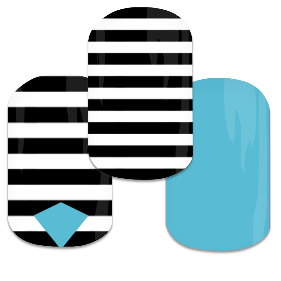 Black and White Strip with Teal 25 contact