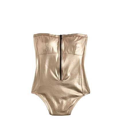 Metallic zip-front one-piece swimsuit with attachable straps // J Crew