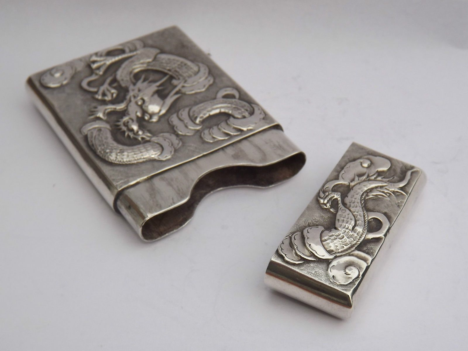 Splendid Good Quality Late 19th Early 20th Century Chinese Solid Silver Calling Card Case.