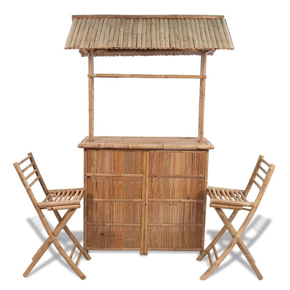 patio bar set folded chairs table terrace outdoor furniture bamboo shed canopy