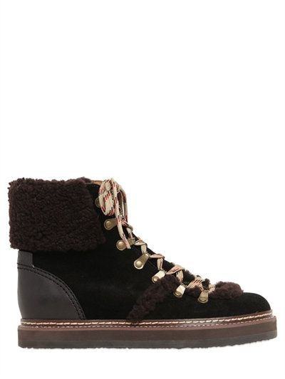Chloé 20MM SUEDE & SHEARLING HIKING BOOTS VWE7m