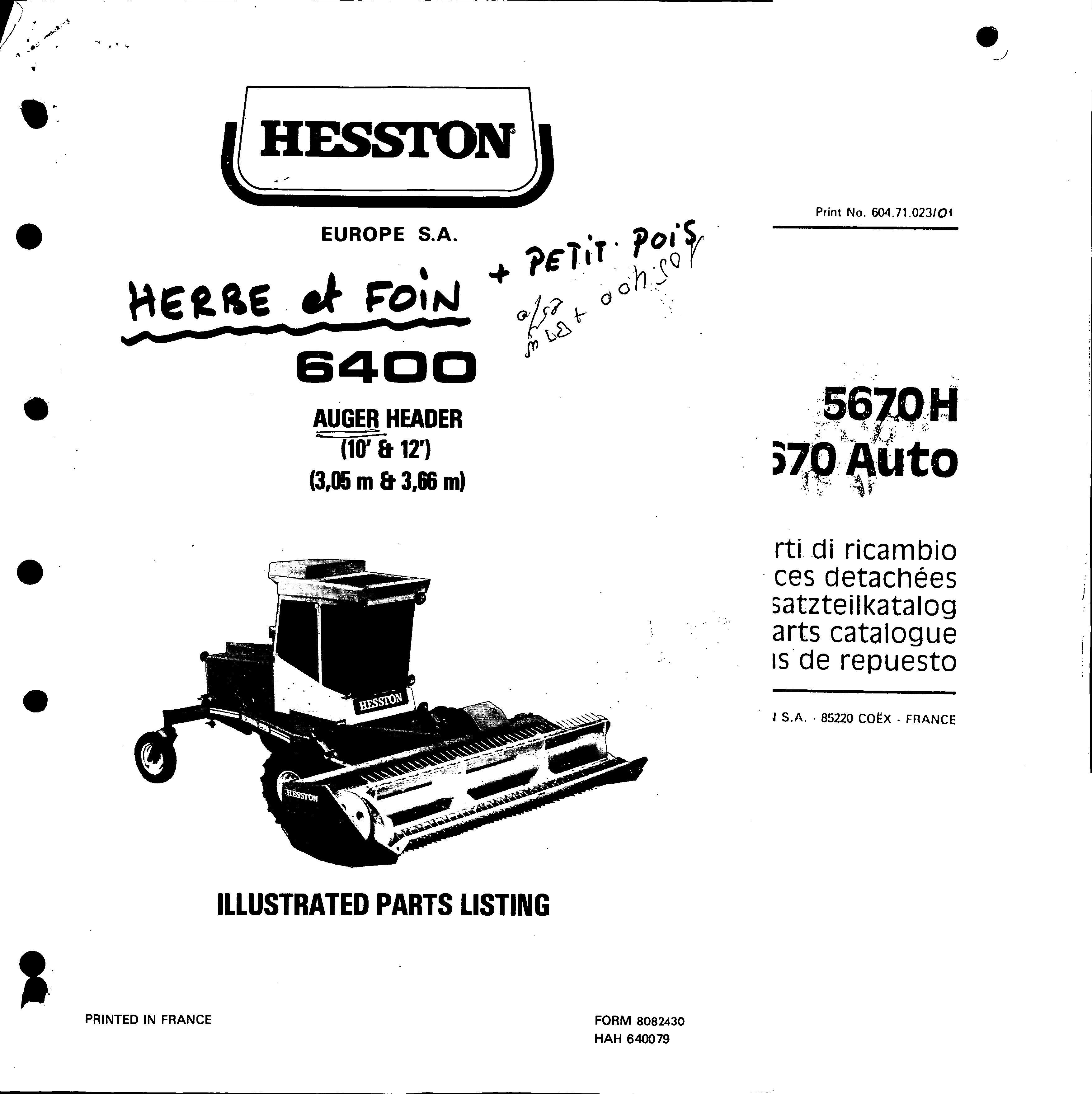 Hesston Auger Header Service Parts Catalogue Download