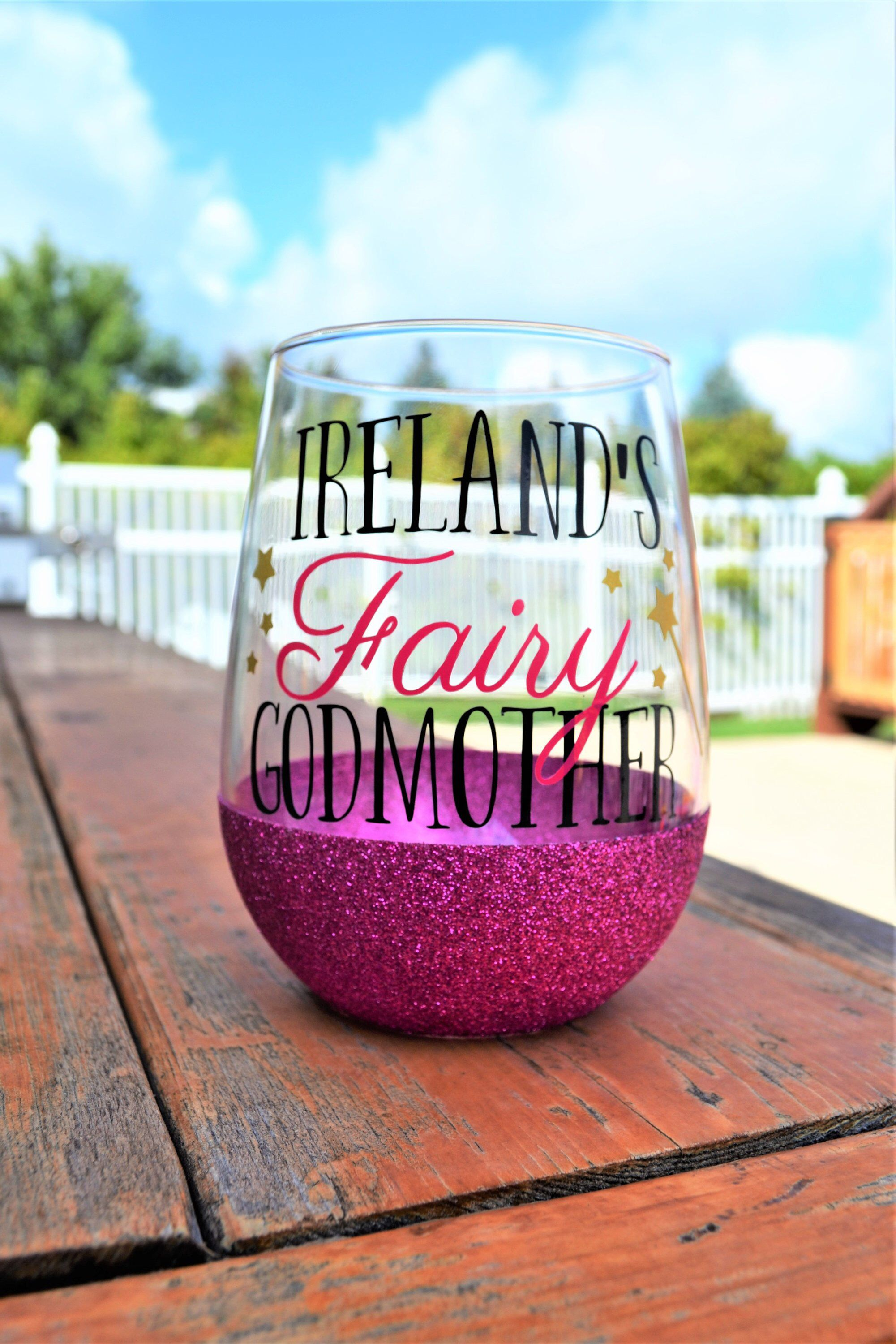 0ff5adaa178 Fairy Godmother Wine Glass // 17.5oz Stemless Glittered Wine Glass // Gift  for