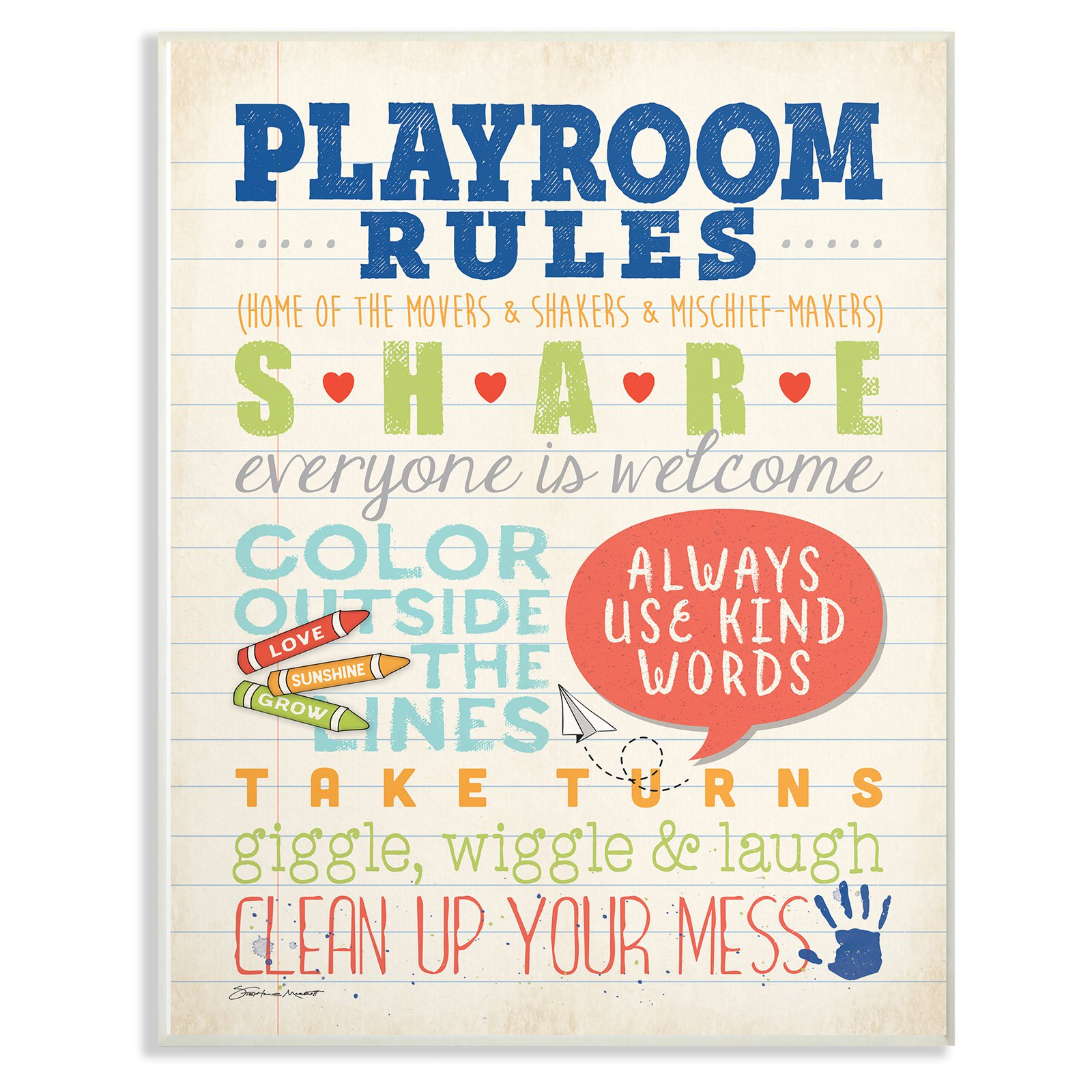 The Stupell Home Decor Collection The Kids Room By Stupell Playroom Rules Notebook Paper Wall Art Wood Plaque Wall Art Plaques Playroom