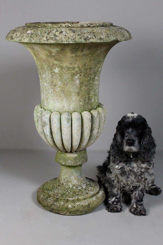 Beautiful Large 18th Century Carved Stone Campana Urn