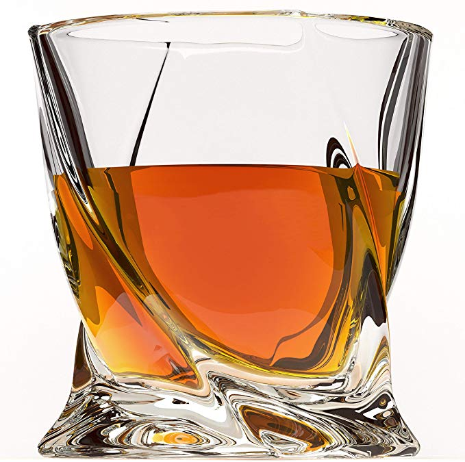 Amazon Com Crystal Whiskey Glass Set Of 4 Premium Lead Free Crystal Glasses Twist Tasting Tumblers For Whiskey Glasses Set Whiskey Glasses Whisky Gifting