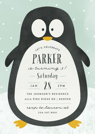 Birthday Party Invitations Penguin Party By Peony Papeterie