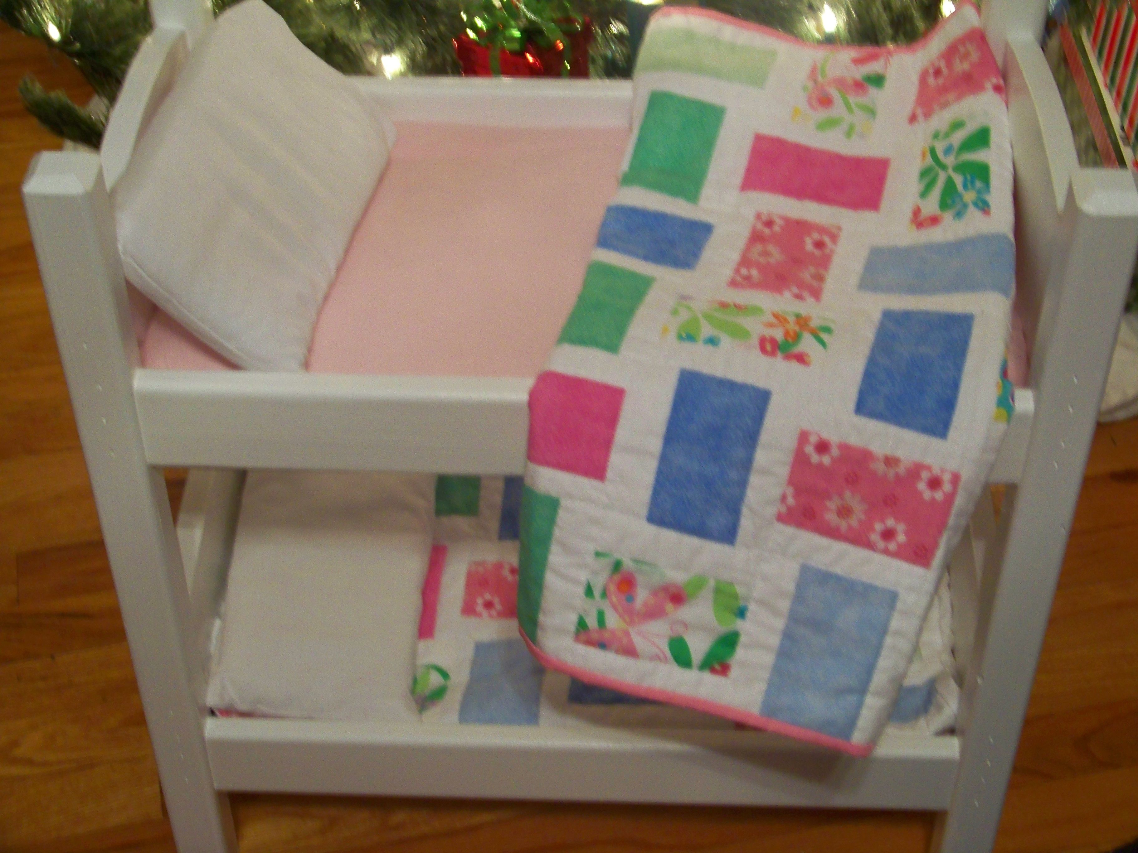 bunk bed with doll quilt mattress and pillows for american girl