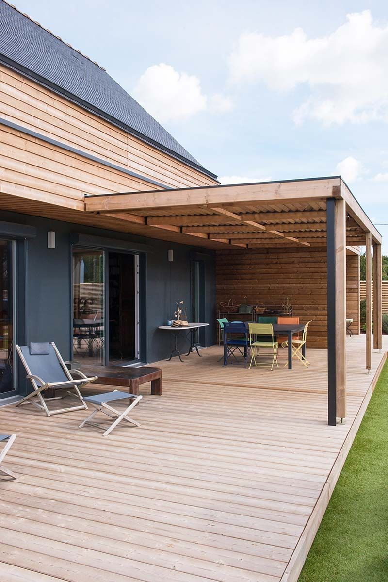 house large terrace wooden a roof