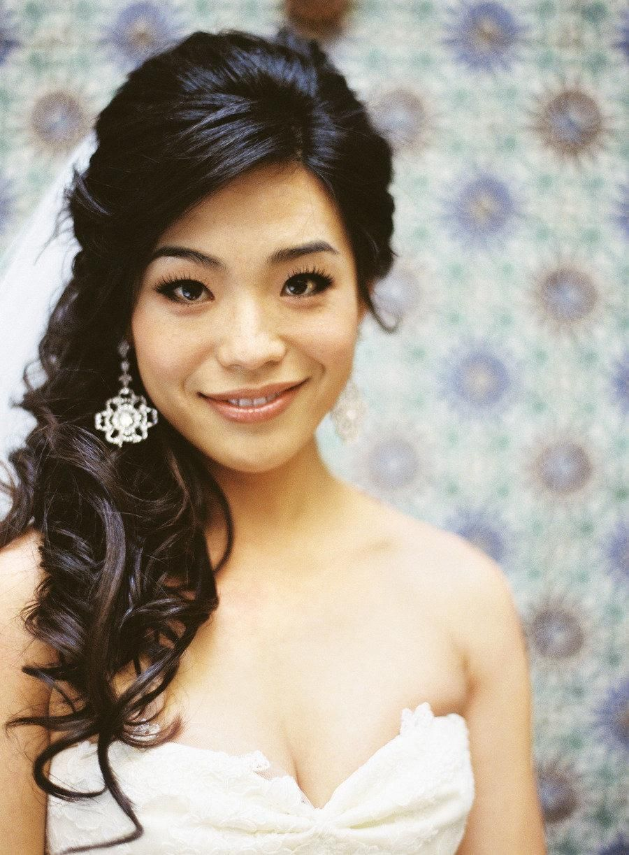 wedding hairstyles ideas side ponytail curly half up