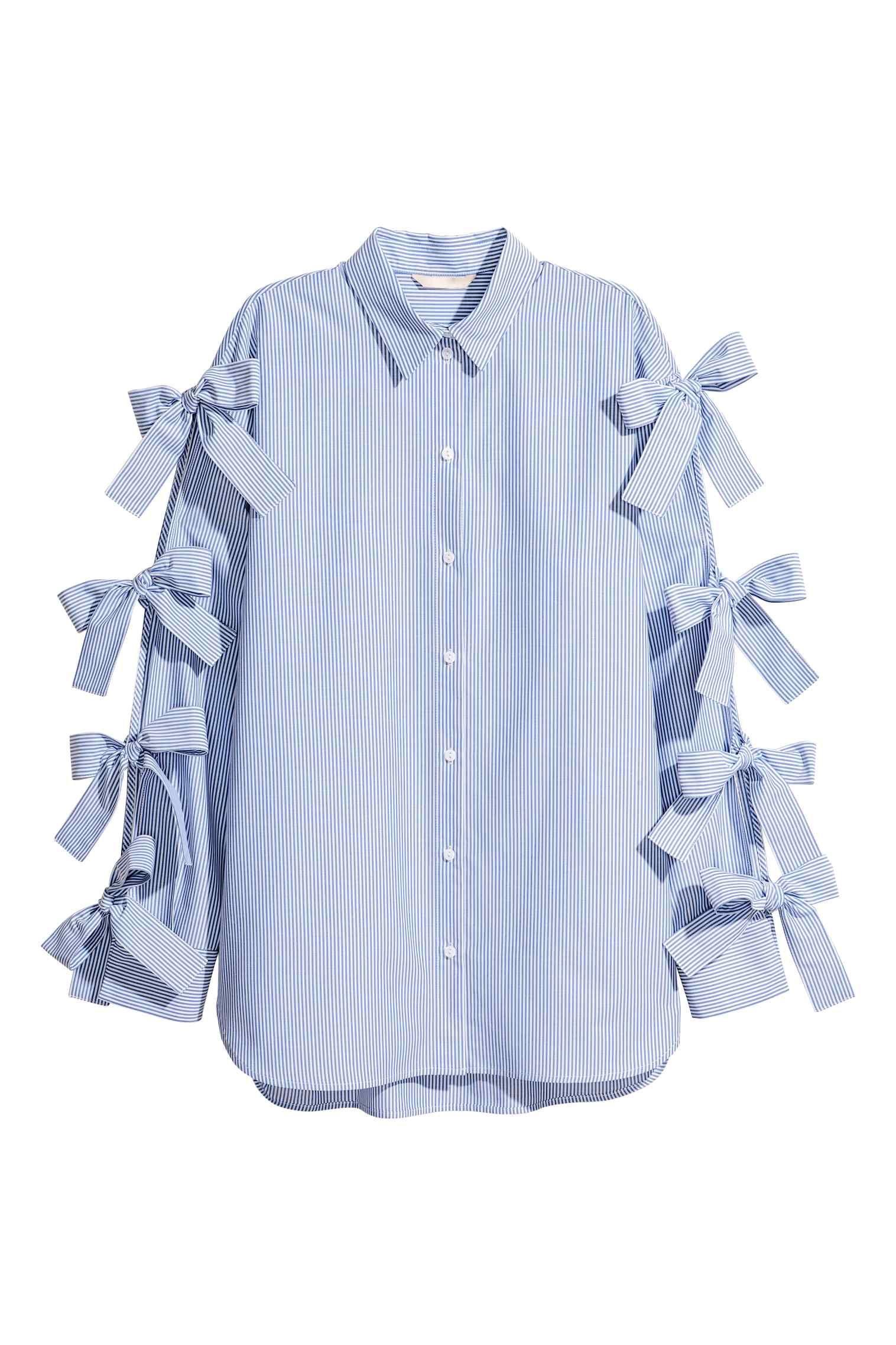 Shirt with ties bluewhitestriped ladies hum things iull