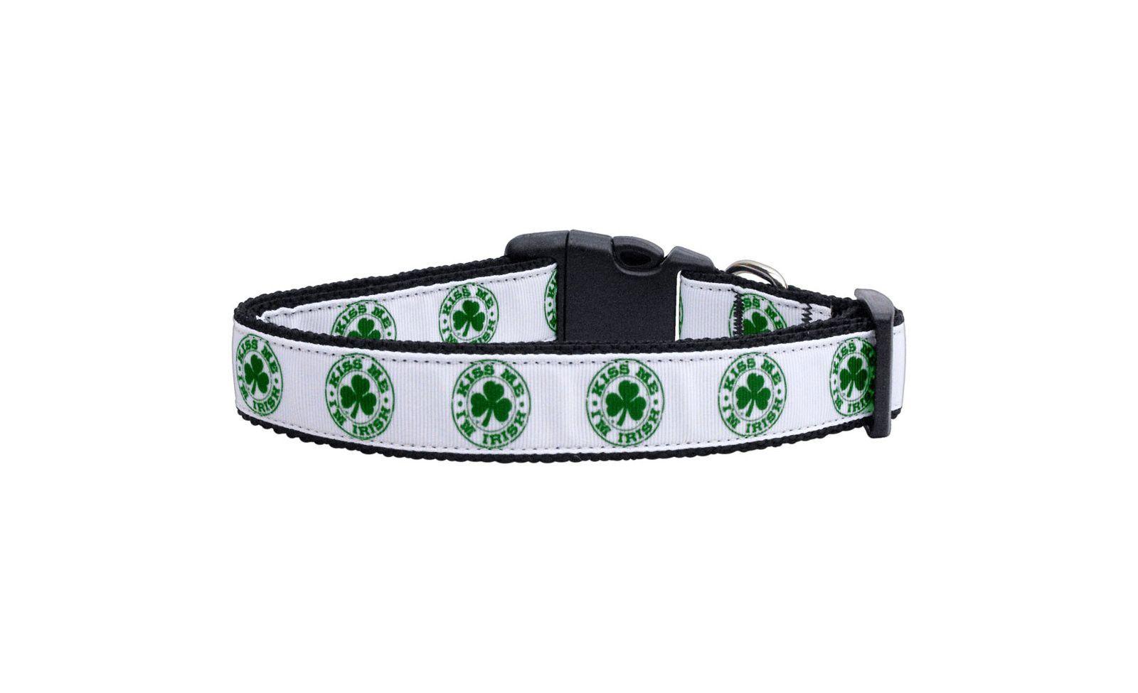 Nylon Dog Collar - Kiss Me I'm Irish