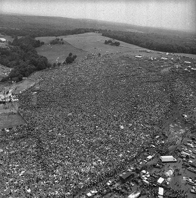 The first day of Woodstock on Max Yasgur's Farm in Bethel New York, Aug 15 1969.