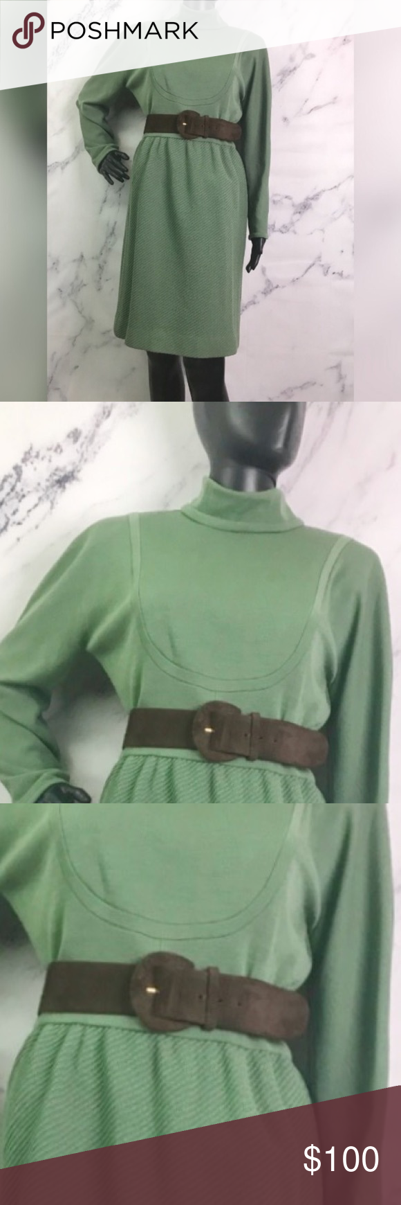 Oscar de La Renta designer showroom dress Light sage green dress with suede brown belt. Excellent condition. Streamlines the body with substantially luxurious cotton fabric coverage. Oscar de la Renta Other #sagegreendress