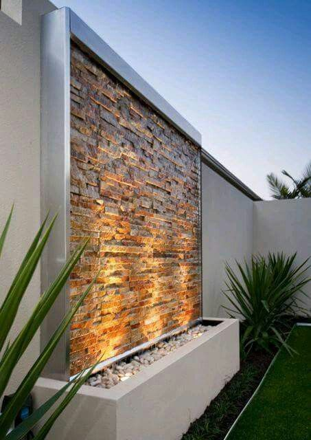Gorgeous Stacked Stone Modern Garden Outdoor Fountain Waterfall On The Wall