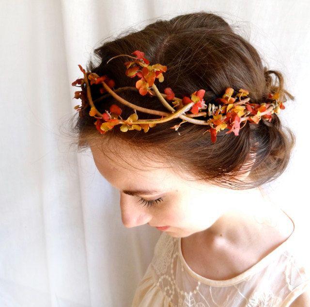 autumn head wreath - BRAMBLE - a fall wedding flower wreath accessory, burnt orange, gold. $65.00, via Etsy.