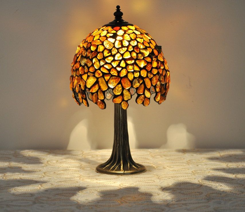 Superior Small Amber Table Lamp   Tiffany Technique. The Lamp Is Made Of Natural  Baltic Amber