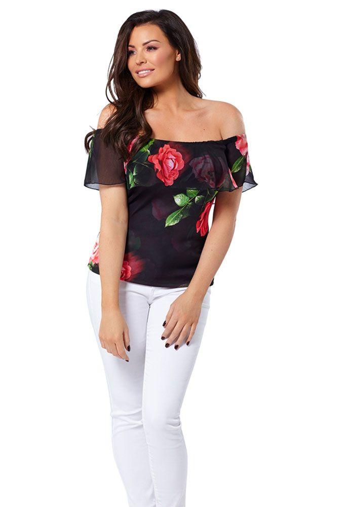 53d4e474a45f98 Jessica Wright Stella Floral Bardot Top