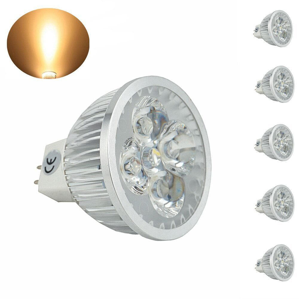 Bonlux 5 Pack Led Mr16 4w Led Light Bulbs Bi Pin Gu5 3 Spot Light 120 Volts Warm Spotlight Bulbs Led Bulb Led Light Bulbs