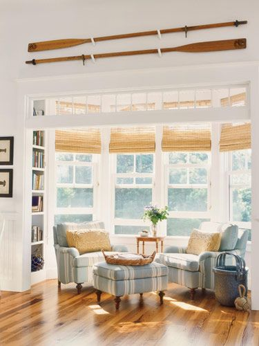 LIVING ROOM Beautiful Cape Cod Cottage woven blinds, long oars ...