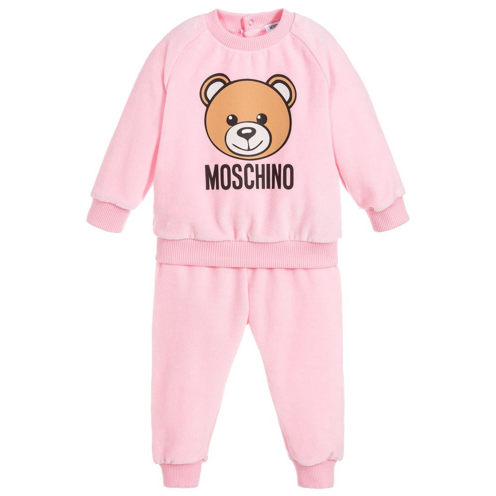 2c06821e6371 Girls Pink Velour Tracksuit for Girl by Moschino Baby. Discover more  beautiful designer Tracksuits for kids online