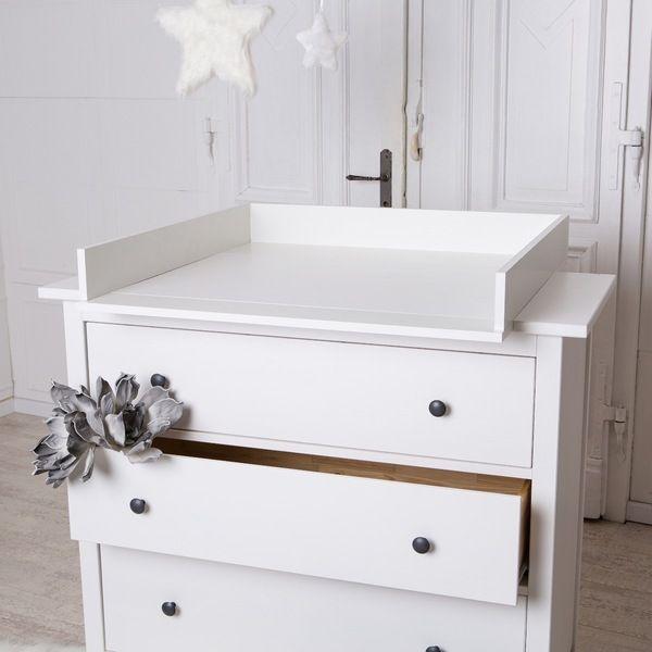 Bords arrondis! Table à langer blanche pour commode IKEA Hemnes - fixation meuble haut cuisine ikea