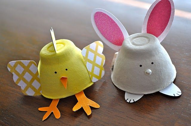 From egg cartons!  So cute!